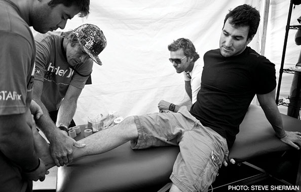 Joel gets the ankle in question examined at the Hurley Pro
