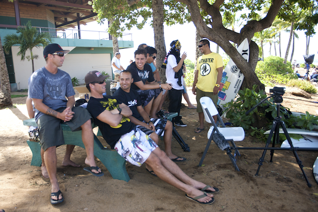 Da boys in da shade. Sol Ortiz, Kamalei Alexander, Freddy P and Joel Centeio.