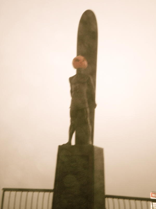 Happy Halloween Santa Cruz! The Indicator statue at Steamer's Lane looking violated. Who would do such a thing?