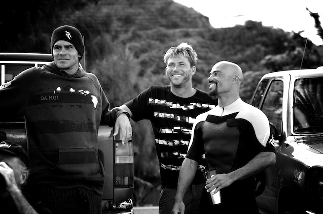Myles Padaca, Pancho Sullivan, and Rainos Hayes. The best board caddies in the business. Not bad surfers either.