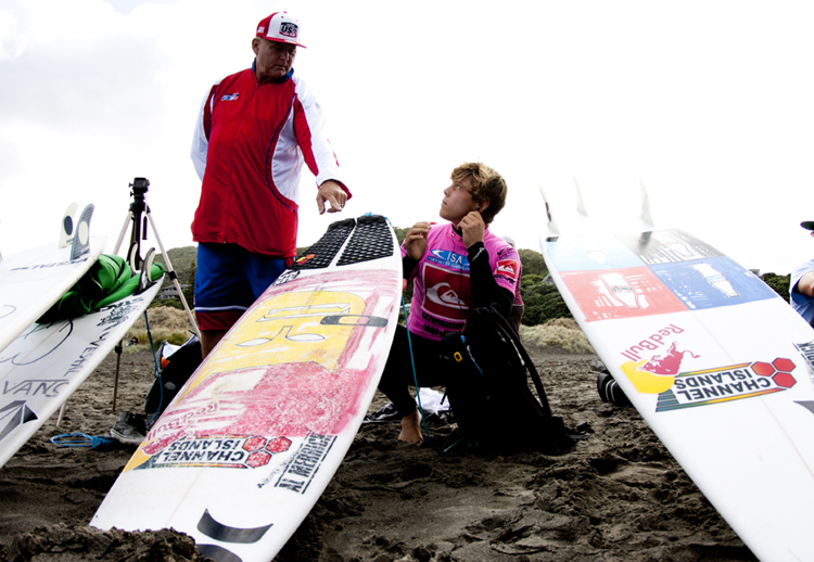 onner Coffin On-deck for his Heat  Photo:  Surfing America/Billy Watts