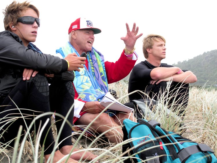 Evan G, Evan T, and Coach Cairns Photo:  Surfing America/Billy Watts