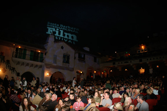 The scene inside the theatre