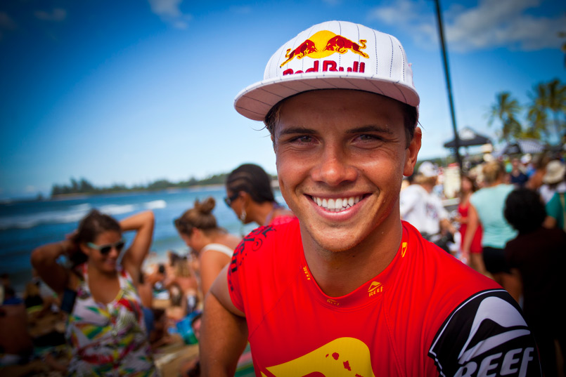 Placing third in his first North Shore competition was enough to put a smile on Julian Wilson's face. Photo: Joli