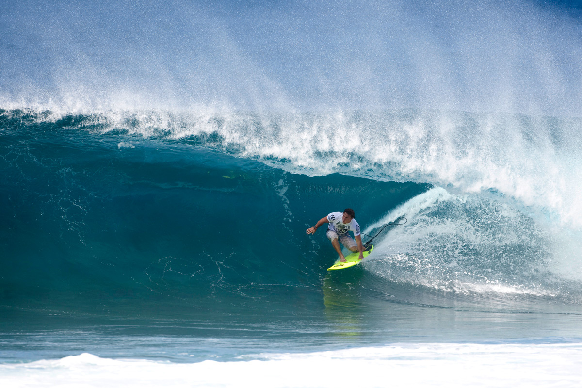 Kalani Chapman muscled his way into the Volcom Pipe Pro by getting some of the best Pipe waves of the winter and winning the wildcard competition. Photo: Courtesy of Volcom
