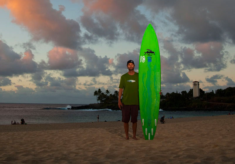 Kohl Christenson stands in the sand at Waimea, a break that he has built his reputation on. Photo: Noyle/SPL