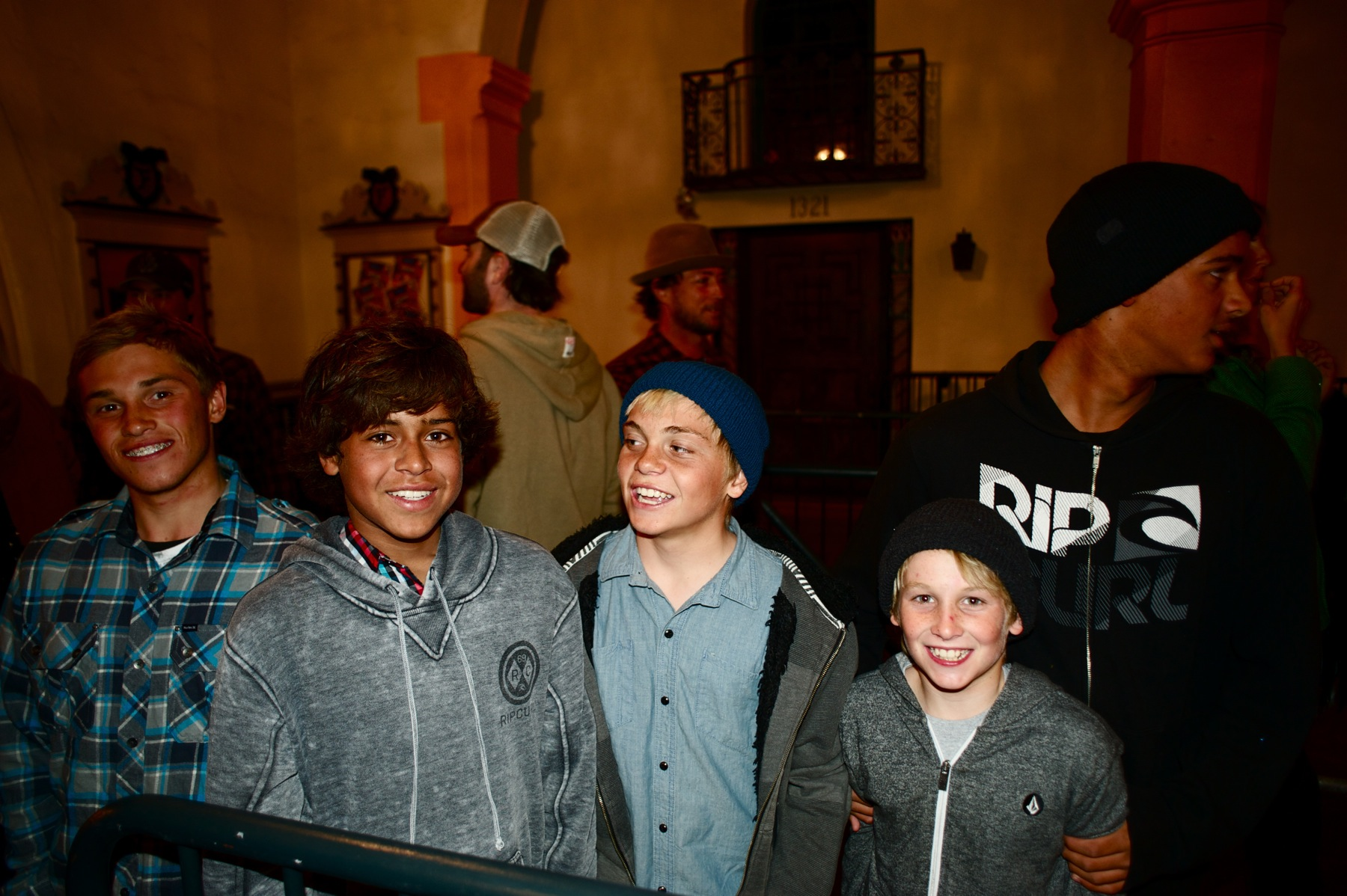 The Curren kids, Pat and Frank, brought the Santa Barbara grom brigade in tow. Photo: Maassen