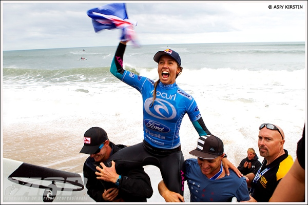 After posting phenomenal scores against one of the most talented competitors in women's surfing, Sally Fitzgibbons unequivocally earned her spot on the podium. Photo: ASP/Kirstin