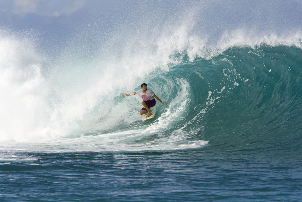 Dane Reynolds holds his line in Indo thanks to a 15-year-old twin-fin. Photo: Kenworthy