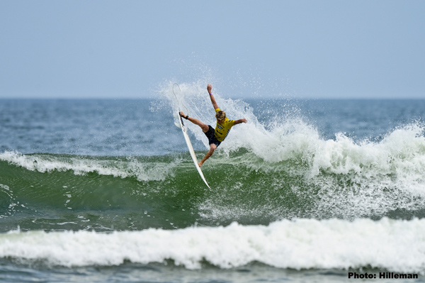 Kolohe Andino double-finaled, winning the men's ASP 4-Star main event and finishing 4th in the Vans Pro Junior. Credit: Brent Hilleman