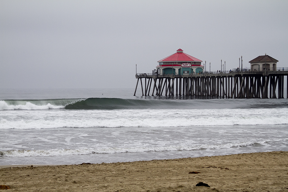 One of the glassy, shoulder-high waves that greeted the surfers Tuesday morning. Photo: Lowe-White