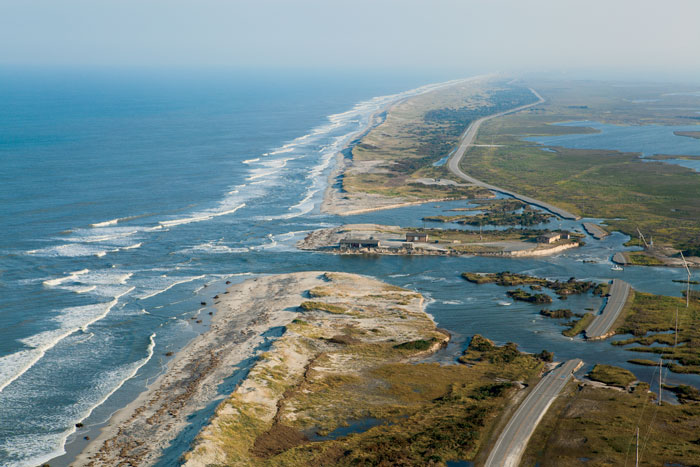 Roads and beaches simply washed away on Cape Hatteras Island under the powerful hurricane winds and rain. Photo: Lusk
