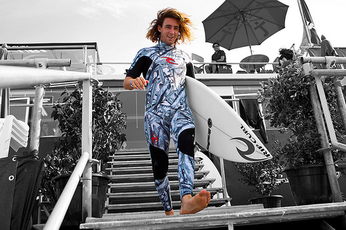 Wilko, unveiling his most recent personalized suit at the Rip Curl Pro Portugal.