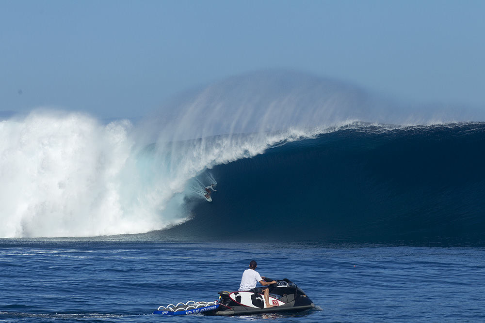 On a truly epic day on Tavarua this year, Kohl Christensen waited patiently for this absurdly terrifying wave which he paddled into. Photo: Glaser