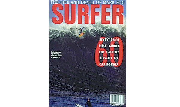 Jay Moriarity, landing our cover with his iconic Iron Cross wipeout at Mavericks.