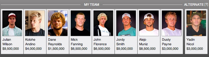 Shea's lineup for the Quik Pro Gold Coast.