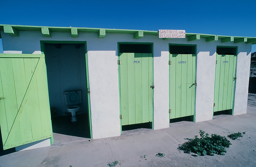 Don't let the pretty colors fool you—these bathrooms soon became the most horrific sight in Baja. Photo: Gilley