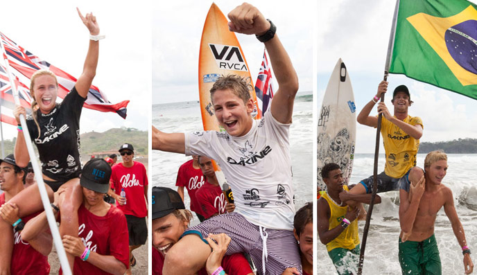 Left to right: Dax McGill (HAW), Kalani David (HAW) and Matheus Navarro (BRA) won the individual gold medals and wrote their names alongside the likes of Stephanie Gilmore (AUS), Jordy Smith (RSA), Gabriel Medina (BRA), Owen and Tyler Wright (AUS) among others. Photo: ISA/Shawn Parkin