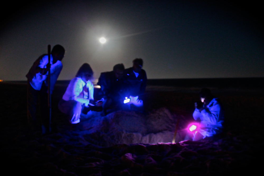 A Surfrider crew collecting samples for testing. Photo: Sturdivant