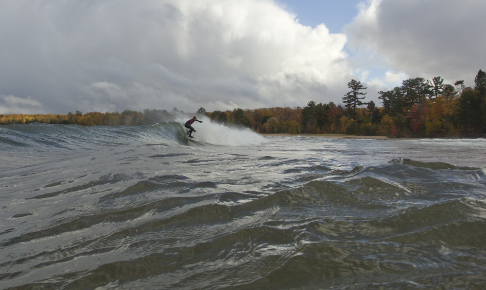 Interviewee Burton Hathaway finding a fun right in Lake Superior. Photo: Malkemes