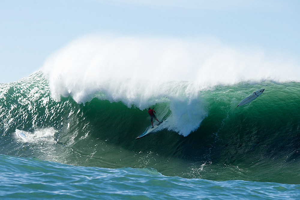 Pete Mel, taking critical take-offs to another level at Mavericks. Photo: Glaser