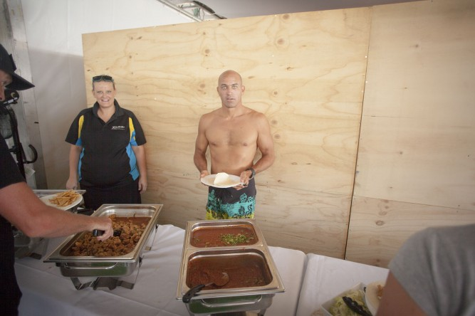 Kelly Slater cut the taco line and got caught tortilla-handed. Photo: Sherm