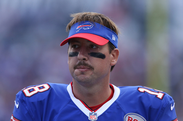 ORCHARD PARK, NY - SEPTEMBER 21: Kyle Orton #18 of the Buffalo Bills looks on during NFL game action against the San Diego Chargers at Ralph Wilson Stadium on September 21, 2014 in Orchard Park, New York. (Photo by Tom Szczerbowski/Getty Images)