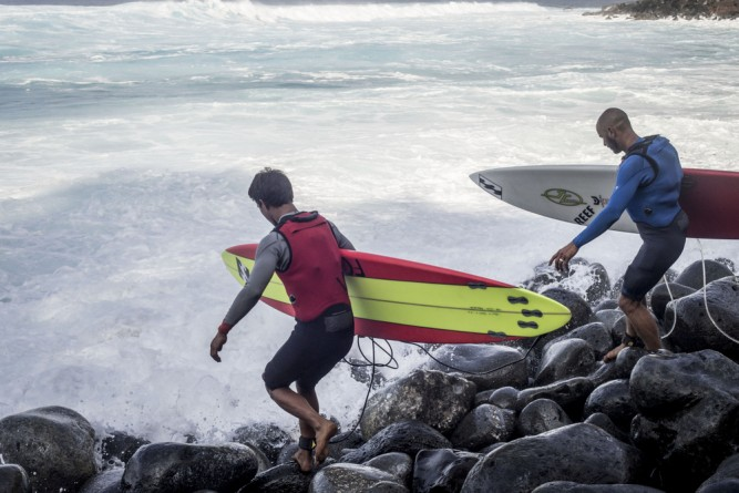 Hey Seth! Check yo' fins! Oh wait, they're doing that for a reason. There's huge boulders and 10 foot whitewaters.