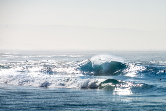 Hurricane Marie brings large surf to south facing beaches in Orange County, CA