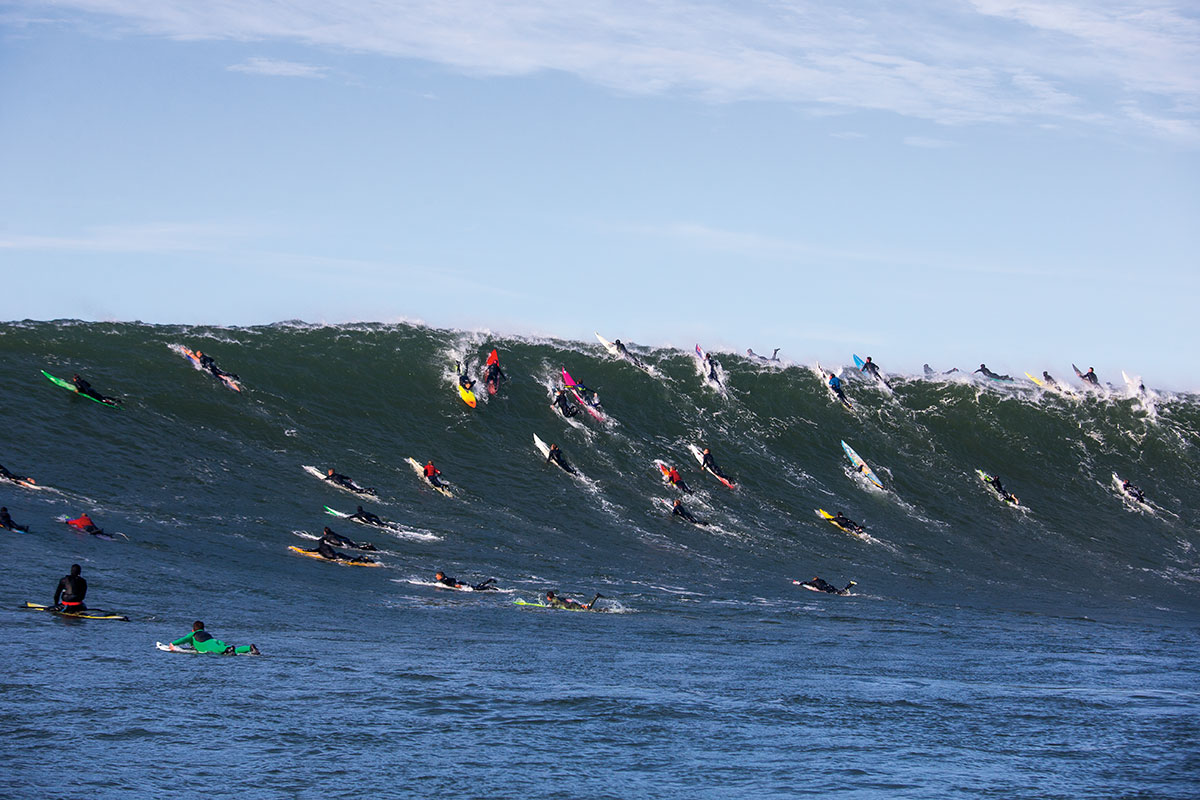 There's a little-known math theorem called the Mavericks formula that goes something like this: The number of surfers at a previously unknown surf spot is directly proportional to the amount of photos of that spot posted to the internet over time. Photo: Pompermayer
